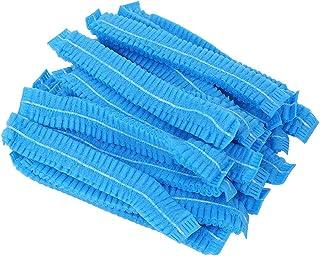 Healifty 200個使い捨てのふわふわキャップ医療サービス用食品不織布ヘアーヘッドカバー化粧(青)