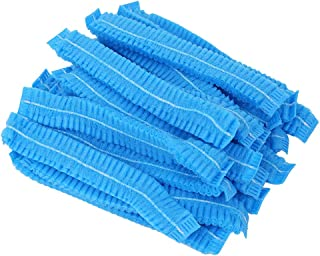 SUPVOX 100pcs Disposable Bouffant Caps Non-woven Surgical Caps Hair Head Cover Net for Medical Service Food Baking Makeup (Blue)