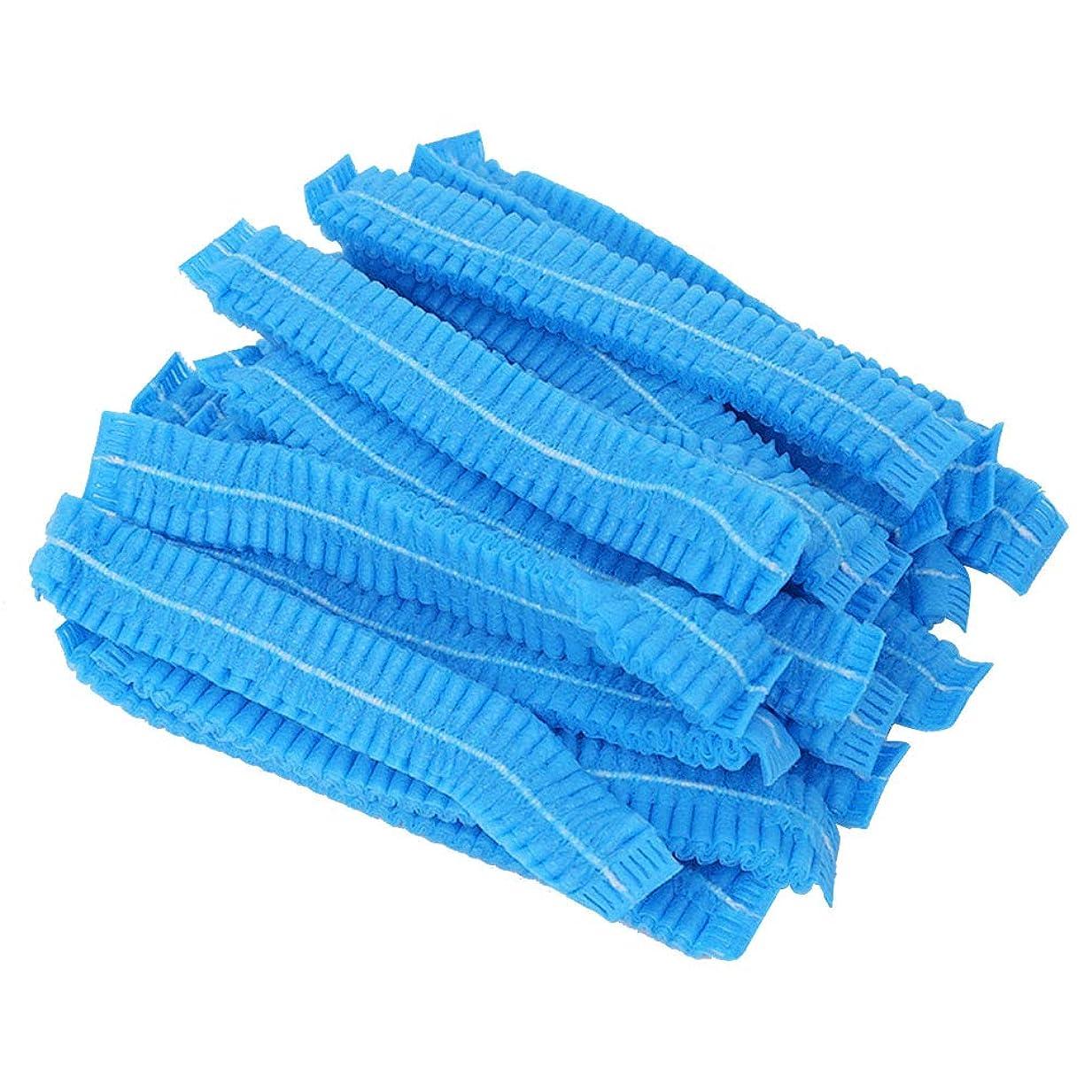 階ボタン賢いbeaupretty 100ピースヘアヘッドカバーネット使い捨て不織布防塵ヘアキャップ付きタトゥーフードサービス(ブルー)