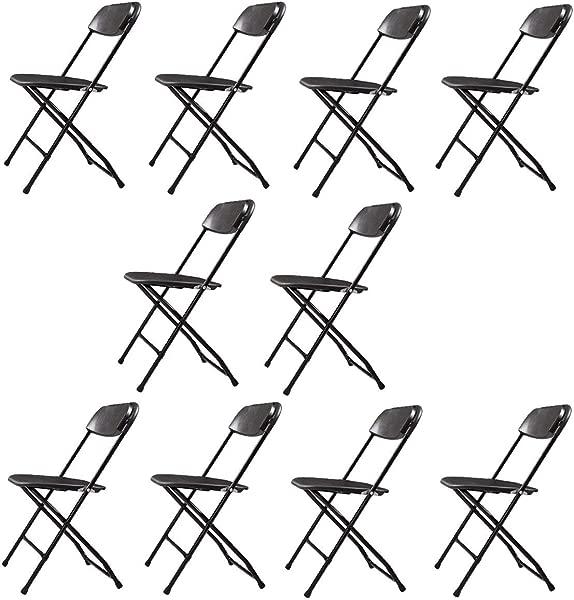 Sandinrayli 10 只装塑料折叠椅婚礼宴会座椅高级派对活动椅子黑色