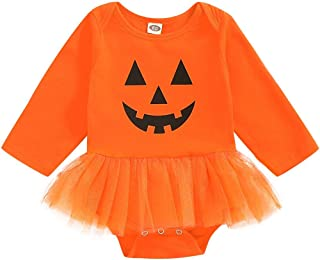 Newborn Baby Girl Outfits Kids Girls Pumpkin Print Long Sleeve Bodysuit Romper Tutu Lace Halloween Clothes