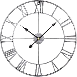 RuiyiF 24 Inch Metal Wall Clock Large Decorative Rustic Farmhouse Oversized, Silent Non-Ticking Battery Operated Kitchen Bedroom Living Room Wall Clock Large Decorative (Silver)