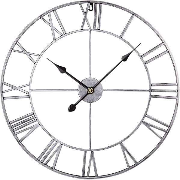 RuiyiF 24 Inch Metal Wall Clock Large Decorative Rustic Farmhouse Oversized Silent Non Ticking Battery Operated Kitchen Bedroom Living Room Wall Clock Large Decorative Silver