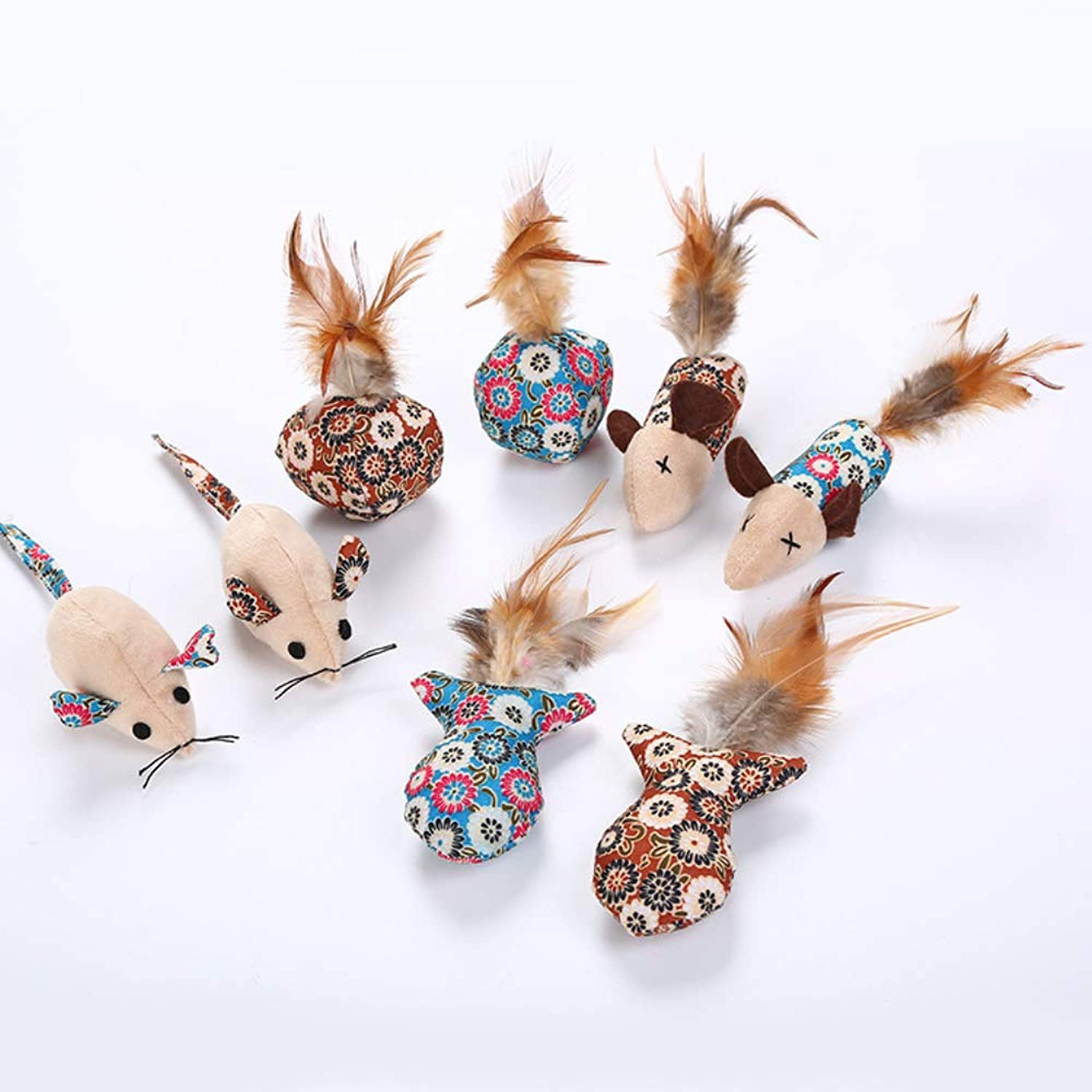 Cat Toys mice Pack 20Pack,Wand Interactive Feather Toy,Fluffy Mouse,Value Pack Cat Toys,Interactive Feather Teaser