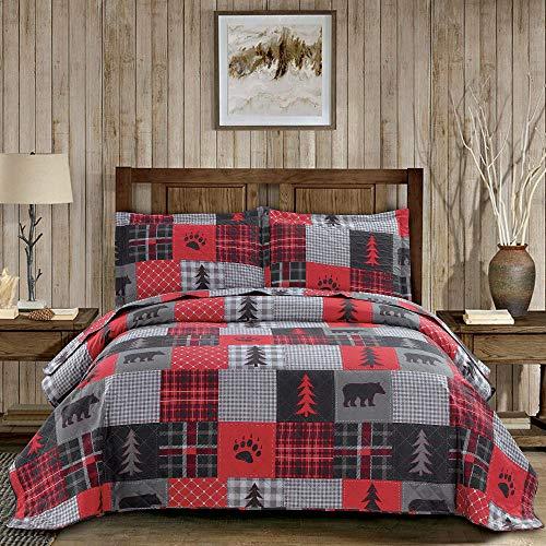 Steppdecke in Rot & Schwarz, für Queen-Size-Betten, Büffello-Tagesdecke, Patchwork-Bettdecke, rustikale Steppdecke, Waldbär-Steppdecke, Wendedecke, Sommerdecke, leichte Tagesdecke, Bären-Plaid Quilt