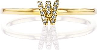 خاتم تكديس مخصص من الذهب الخالص عيار 14 قيراط من الماس الطبيعي للنساء | وردي أبيض وذهبي أصفر | حروف (A-Z)، المقاسات (4-8)