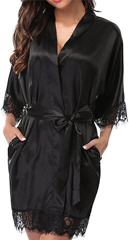 2021 Short Satin Kimono Robe for We V-Neck Cash special price Bridesmaid Sexy Women Oakland Mall