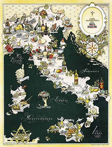 "Riley Creative Solutions Gourmet Map of Italy | Carta Gastronomica | Italian Cuisine Kitchen Restaurant Decor Art (3 Sizes) (23""x30"")"