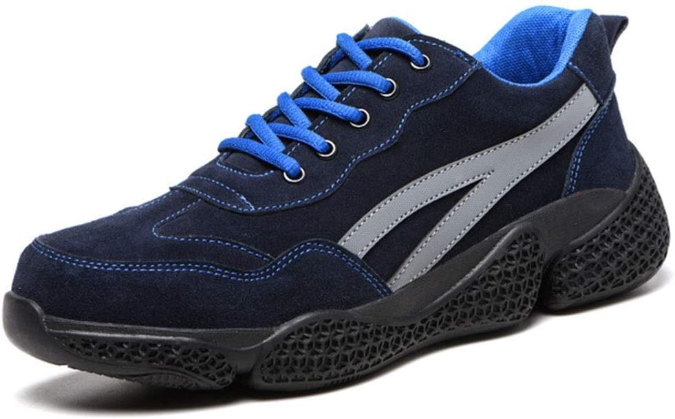 Safety Shoes for Men Steel Toe Cap Footwear Shoes Lightweight Work Shoes Trainer Breathable Industrial & Construction Shoe (Color : Blue, Size : 8 US)