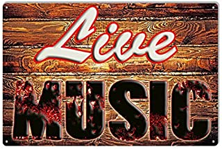 Dark Branches Live Music Tin Sign, Live Music Restaurant and Bar Vintage Looking Metal Sign, 8