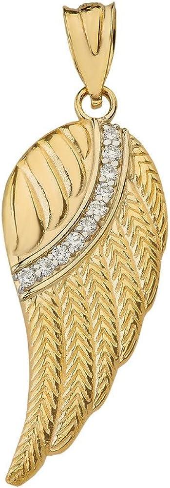 CaliRoseJewelry 10k and 14k Yellow Gold Feather Angel Wing Diamond Pendant