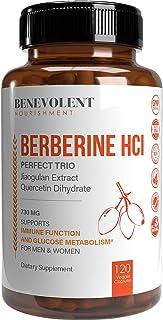 Premium Berberine HCL 500mg - 120 VCAPS Perfect Trio Complex with Non-GMO Jiaogulan & Quercetin, Support Blood Sugar Healt...