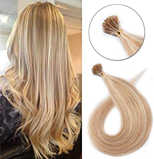 Pre bonded I Tip Human Hair Extension for Women Fusion Stick Tip Remy Human Hair Piece Invisible Keratin Glue Full Head 100 Strands 50 Gram 16Inch #18P613 Ash Blonde&Bleach Blonde