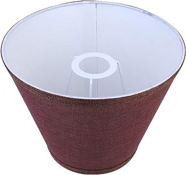 PIXNOR Linen Lamp Shade Barrel Shallow Drum Hardback Lampshade Shell Cover for Desk Lamp Light Restaurant Hotel Bedroom Livin
