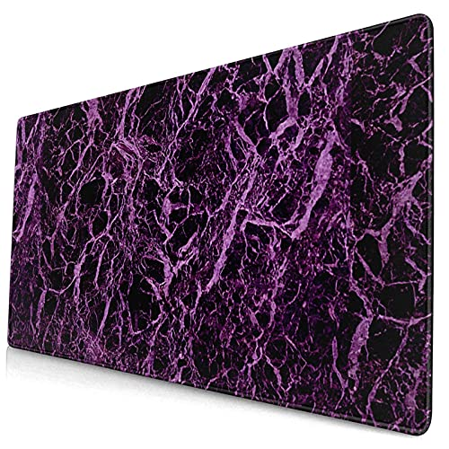 Extra Large Gaming Mouse Pad Black Purple Marble Non-Slip Keyboard Pad Rectangle Rubber Base Desk Mat 29.5x15.8 Inch