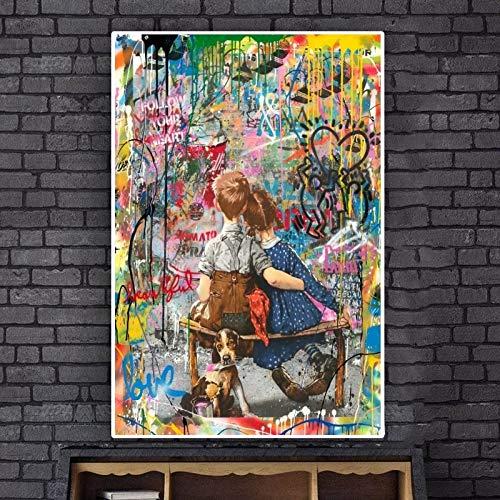 Rahmenloses MalenMein Freund aus Kindertagen malte an der Wall Street. Kunstgraffiti auf Leinwand. Plakatdekoration.20X30cm