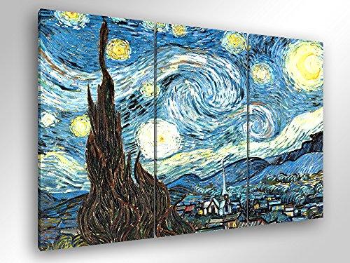 Degona Quadro Moderno Van Gogh - LA Notte Stellata - cm 150x100 Stampa su Tela Canvas Arredamento Arte Arredo XXL Soggiorno Salotto Cucina Ufficio Bar Ristorante