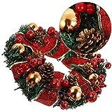 CAETNY Coroa de Natal Artificial, Ornamento de 30cm Decoração de Vitrine Chique de Garland Artificial, Coroa de Natal com Bagas Vermelhas de Pinhas, para Férias de Inverno Decoração de Casa