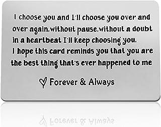 بطاقة معايدة معدنية محفور عليها عبارة I Choose You مخصصة للمحفظة تصلح كهدية للزوج في عيد الحب وعيد الميلاد ويوم الزفاف للع...