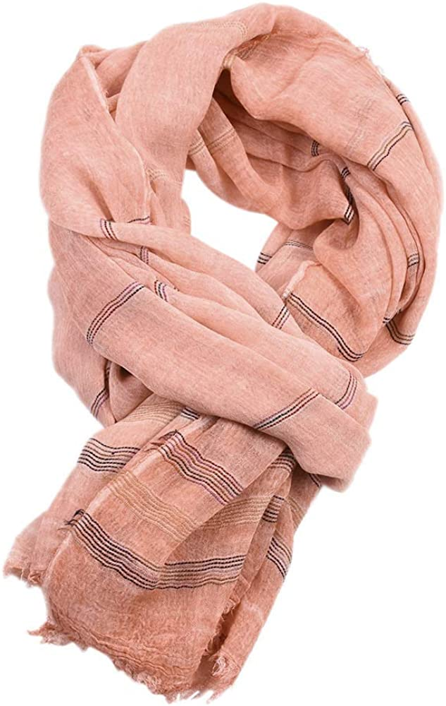 Runtlly Lightweight Scarves for Men Double Color Cotton-Linen Wrap Long Scarf Shawls