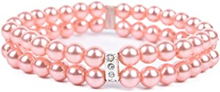 PAWZ Road 2 Rows Pet Necklace Dog Collar Cat Jewelry with Pearls Rhinestones Pink Charm