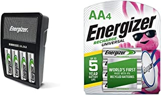 Energizer Rechargeable AA and AAA Battery Charger (Recharge Value) with 4 AA NiMH Rechargeable Batteries & Rechargeable AA...