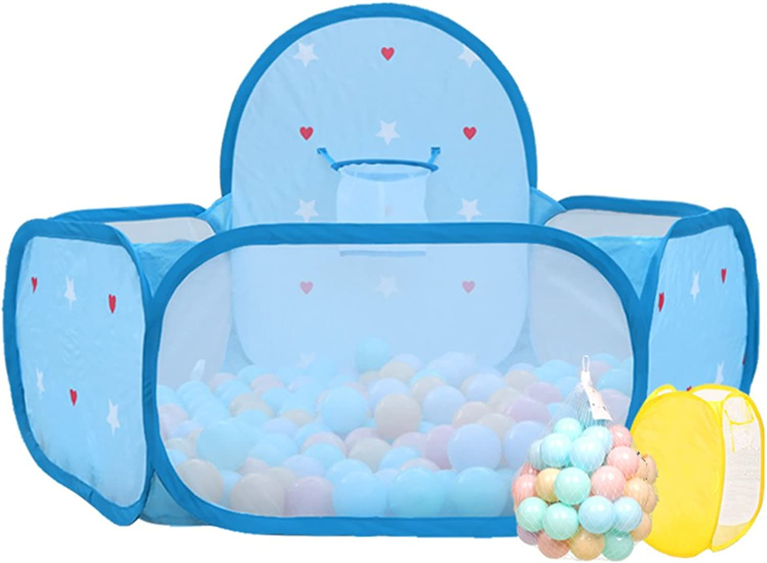 Boys Ball Pit Playpen Toddler Play Tent Sea Ball Pool with Mini Basketball Hoop, Indoor Outdoor Kids Safety Play Center Yard, bluee (Size   50 Balls)