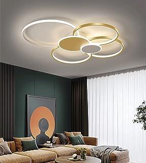 Plafonnier LED Dimmable Salon Plafonnier avec Télécommande Chic Chambre Plafond Lampe Moderne Créatif Anneau Rond Design M...