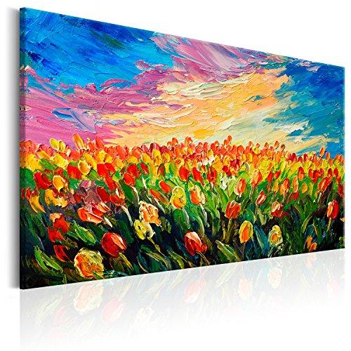 murando Cuadro en Lienzo Flores 90x60 cm 1 Parte Impresión en Material Tejido no Tejido Impresión Artística Imagen Gráfica Decoracion de Pared Tulipanes b-B-0172-b-a