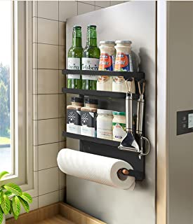 COUAH Magnetic Paper Towel Holder,Spice Rack Organizer 2 Tier with 1 Paper Towel Holder 2 Removable Hooks,for Refrigerator...