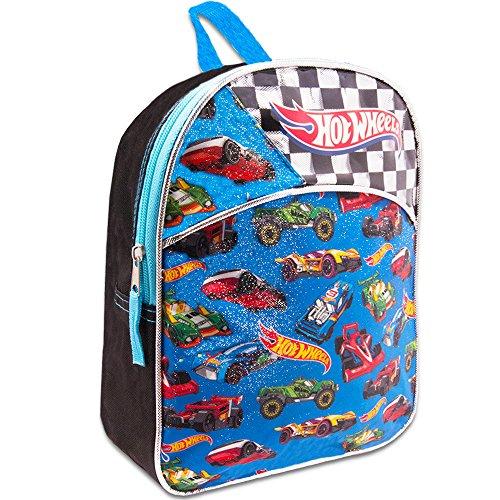 Hot Wheels Toddler Preschool Backpack Set - Bundle Includes 11 Inch Hot Wheels Mini Backpack and Stickers (Hot Wheels School Supplies)