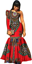 Womens Prom Party One-Shoulder Dashiki Mermaid Dress African Evening Gown