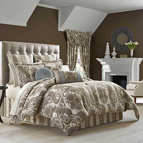 J.Queen Crystal Palace Queen Comforter Set, Taupe Slate Blue Floral