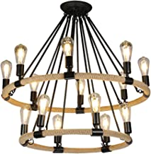 HN Lighting Chandelier Industrial Wind Retro Hemp Wrought Iron Pendant Light Creative Personality Coffee Bar Bar Living Ro...