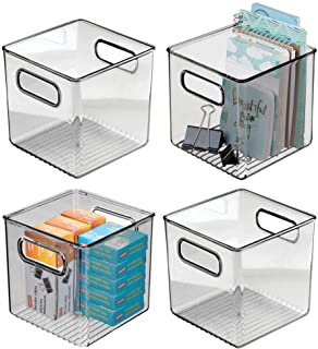 "mDesign Plastic Home Office Storage Organizer Container with Handles - for Cabinets, Drawers, Desks, Workspace - Holds Pens, Pencils, Highlighters, Notebooks - 6"" Cube, 4 Pack - Smoke Gray photo"
