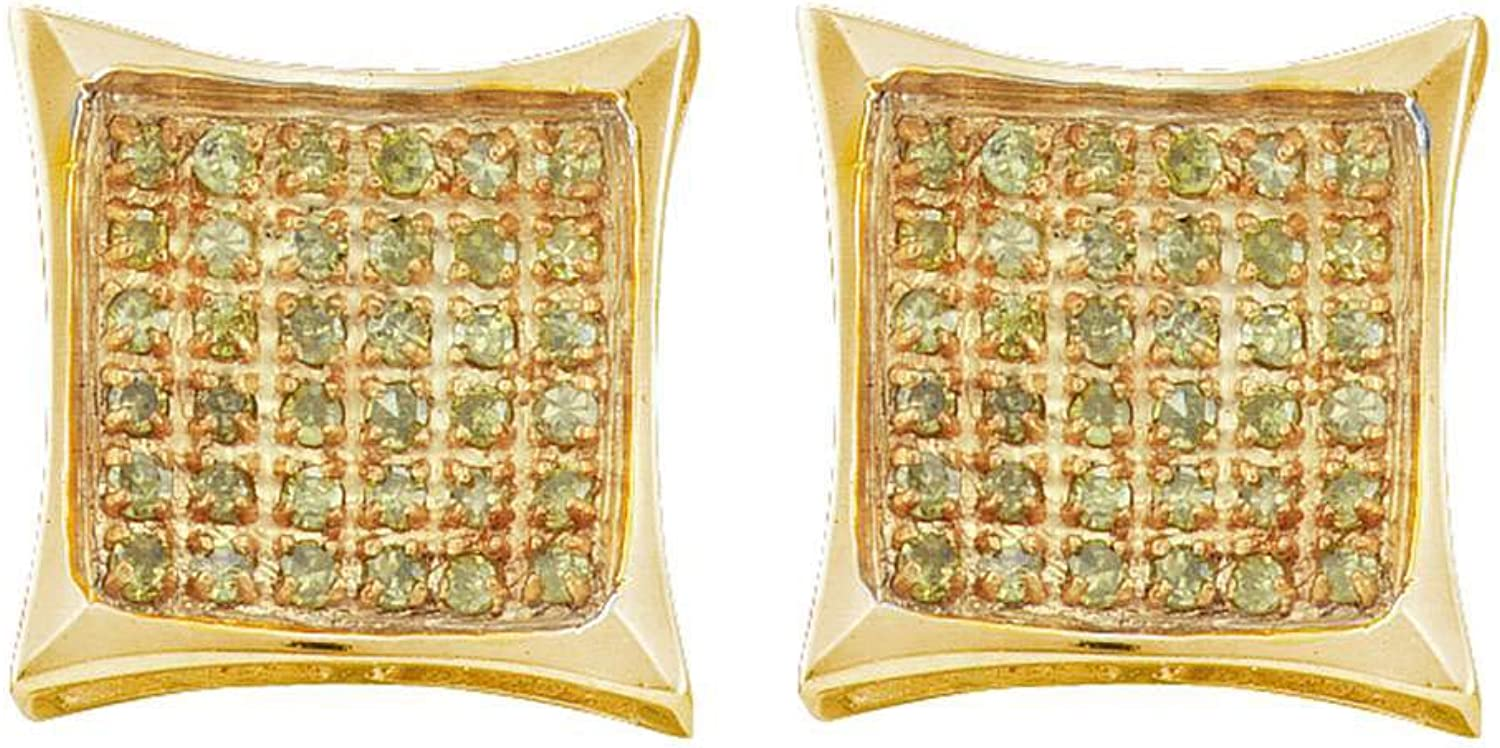 10kt Yellow gold Womens Round Yellow colord Diamond Cluster Square Kite Earrings 1 20 Cttw