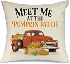 AENEY Fall Truck Throw Pillow Cover and Meet Me at The Pumpkin Patch 18 x 18 for Couch Vintage Fall Decorations Farmhouse Home Deco Thanksgiving Decorative Pillowcase Faux Linen Cushion Case for Sofa