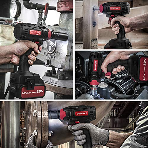 20V Max Cordless Impact Wrench, EASTVOLT Brushless Motor with 1/2 Inch Chuck, Max Torque 225ft.lbs, 2 Torque Settings, Fast Charger, 4.0Ah Lithium-ion Battery, 4 Pcs Driver Impact Sockets, EVIW2001B