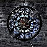szhao Reloj de Pared de Vinilo Jumbo, decoración del hogar, Sol y Luna, Reloj de Vinilo con Estrella Retro, Reloj cosmográfico, Regalos de astrología-with_Led