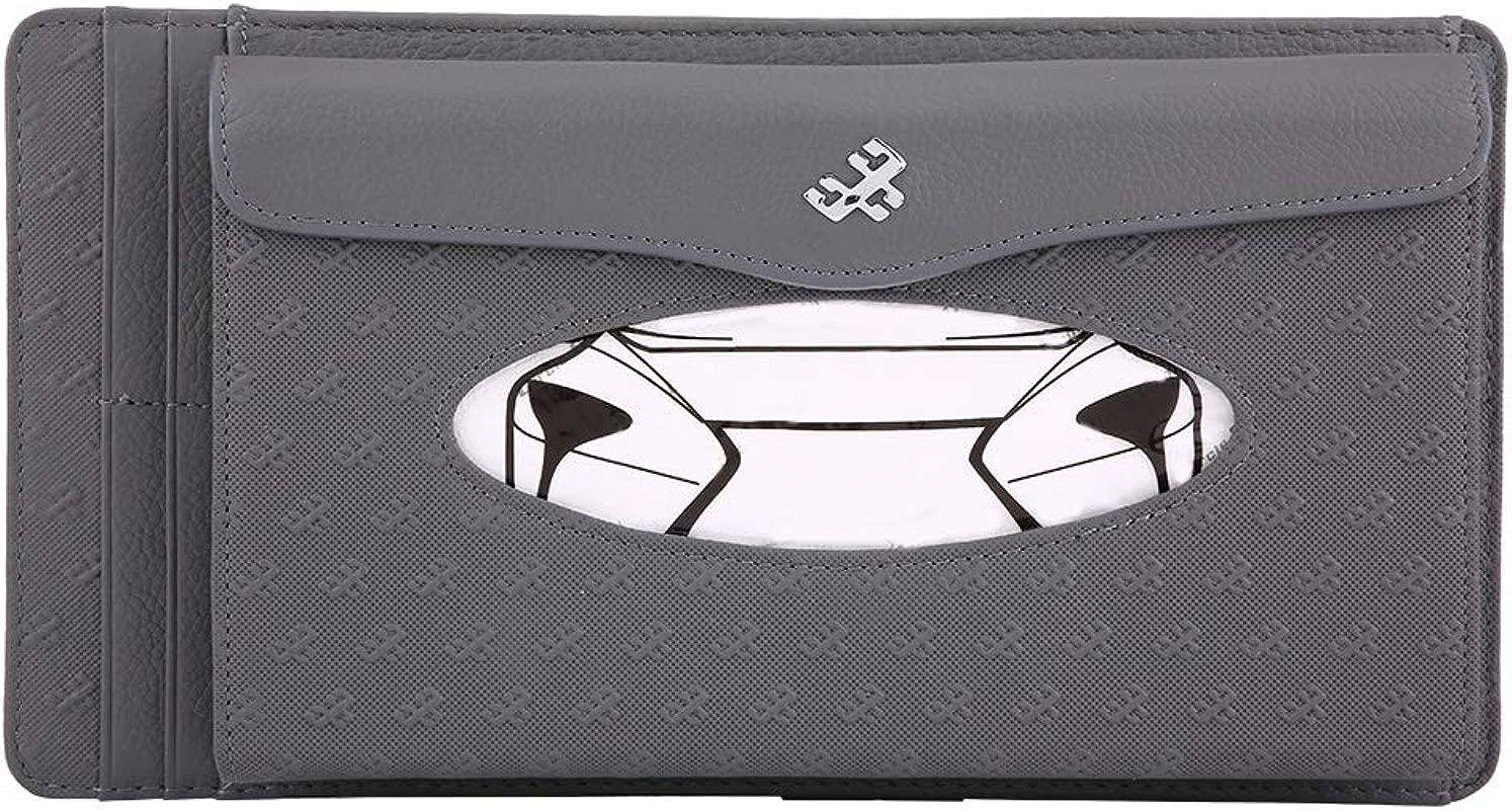 KIMISS Universal Car Sun Visor Synthetic Leather Hanging Tissue Towel Box Napkin Card Holder Storage Box Gray