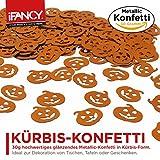 Halloween Metallic Konfetti KÜRBIS Pumpkin 30g – ideale Tisch-Deko & Party-Dekoration für Gruselige Halloween-Partys - 4