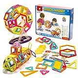 71 bloques magnéticos de colores, bloques de construcción de plástico multicolor, juguete para niños, una gran idea de regalo, pensamiento creativo y destreza.