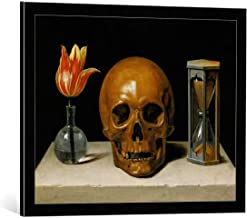 kunst für alle Framed Art Print: Philippe de Champaigne Vanitas Allegory Transience Life with Skull Hourglass… - Decorative Fine Art Poster, Picture with Frame, 28x22 inch, Black/Edge Grey