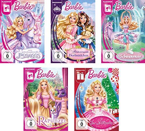 Barbie - Spielfilme Set - Der Nussknacker, Barbie als Rapunzel, Schwanensee, Die Prinzessin und das Dorfmädchen, der geheimnisvolle Pegasus (5DVDs)
