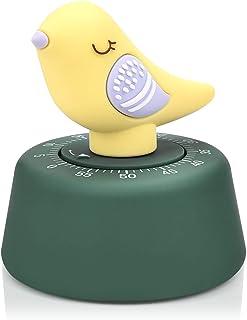 JTX Kitchen Timer Craft Mechanical Wind Up 60 Minutes Timer Home Decor (Yellow Bird)