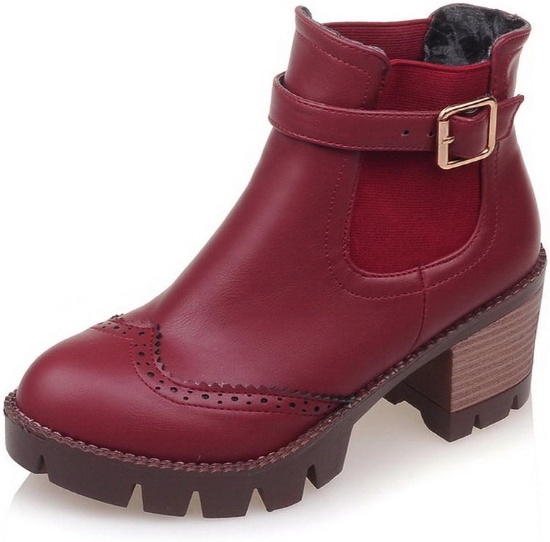 BalaMasa Girls Lace Ornament Studded Rhinestones Metal Buckles Imitated Leather Boots