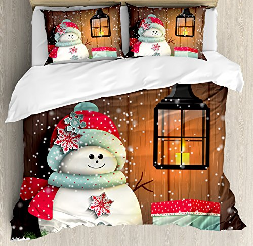 Ambesonne Christmas Duvet Cover Set, Snowman with Santa Hat in The Garden...