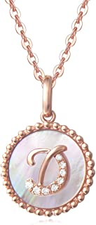 Solid 14K Rose Gold Small Cute Initial Alphabet Letter Coin Pendant Dainty Necklace with Mother of Pearl Round Diamonds Fine Jewelry for Women Girls, 18