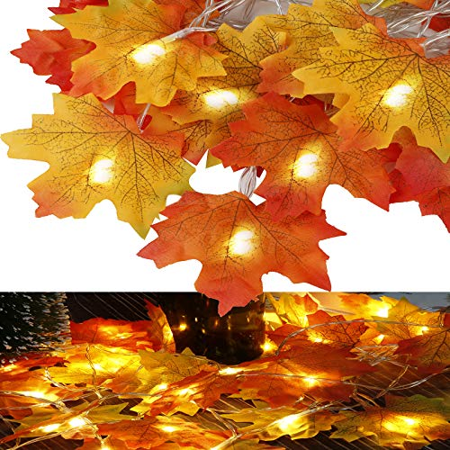 3PACK LED Maples Leaf String Lights, 29ft 60 LED Warm White String Lights Battery Powered for Thanksgiving Halloween Christmas Indoor & Ourdoor Decorations