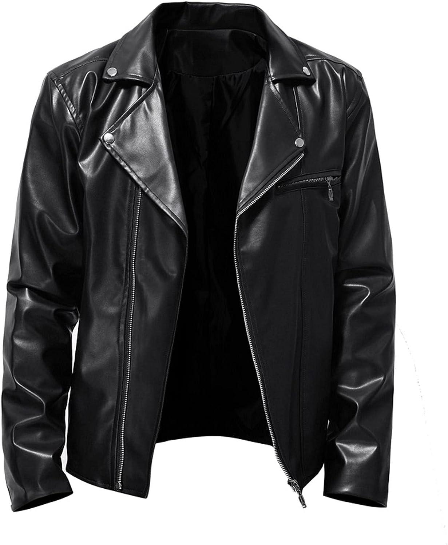 Suncolour Black Leather Jacket for Men Fashion Mens Zip Up Slim Fit Leather Jackets